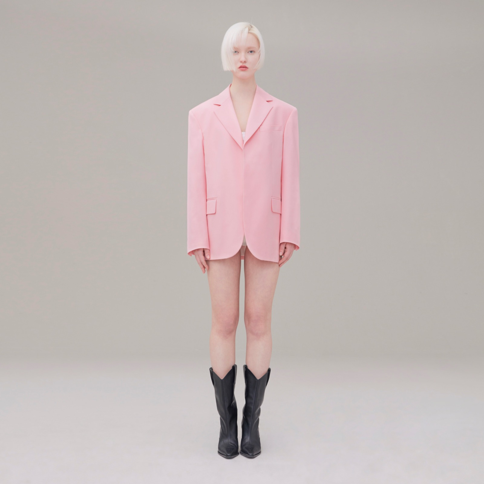 Over size open jacket 003 Pink