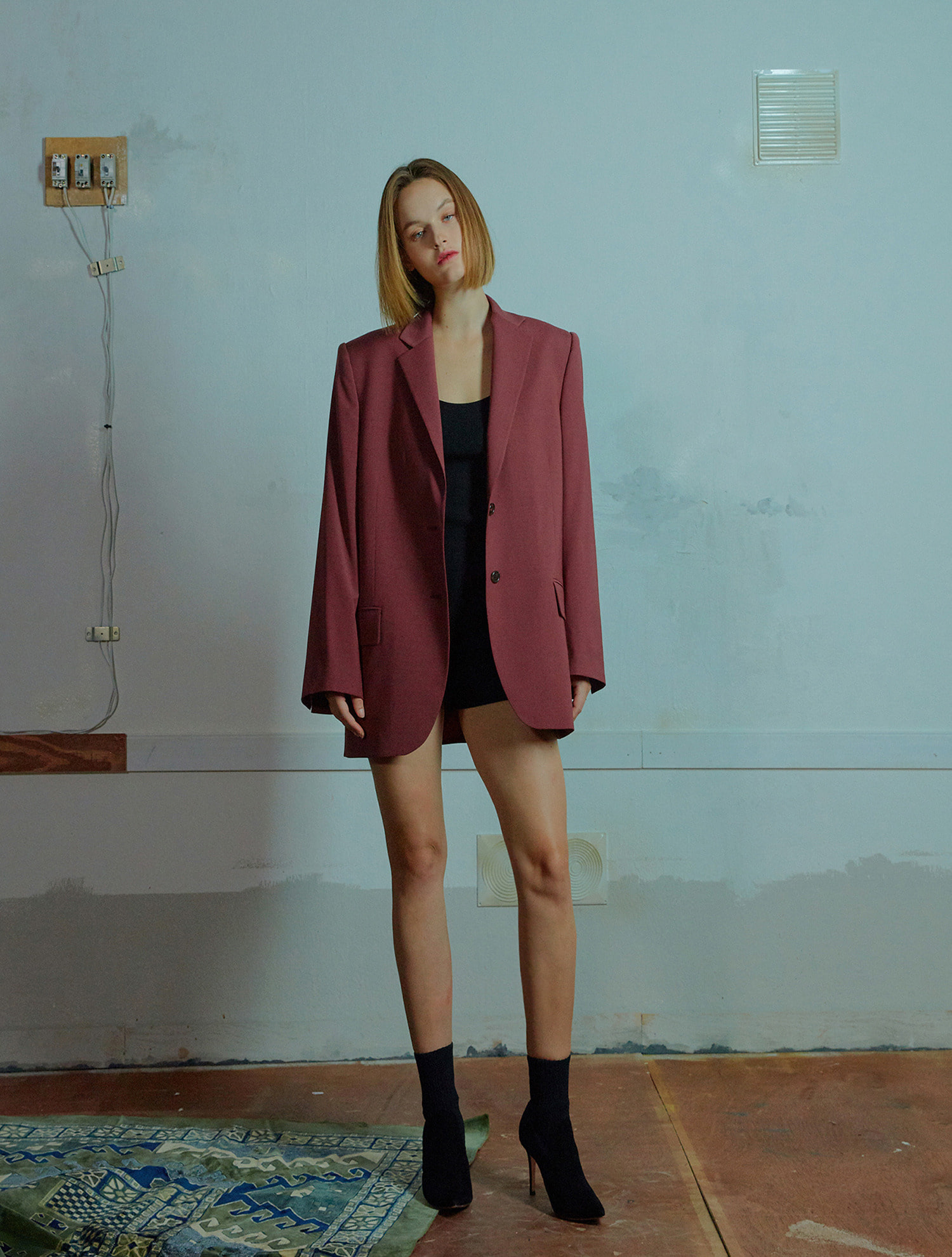 Overfit two button jacket 004 Burgundy