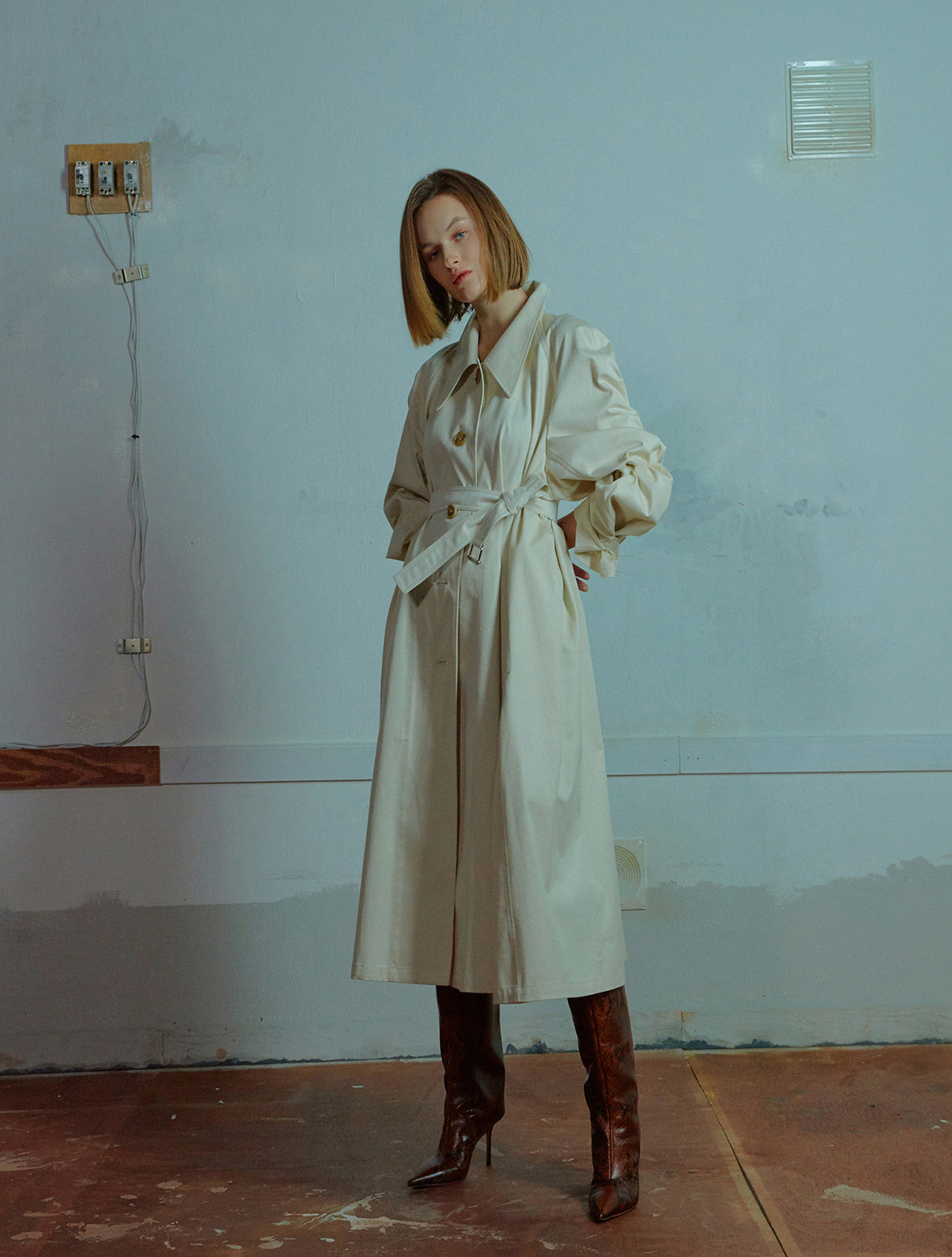 Long trench coat 001 Ivory