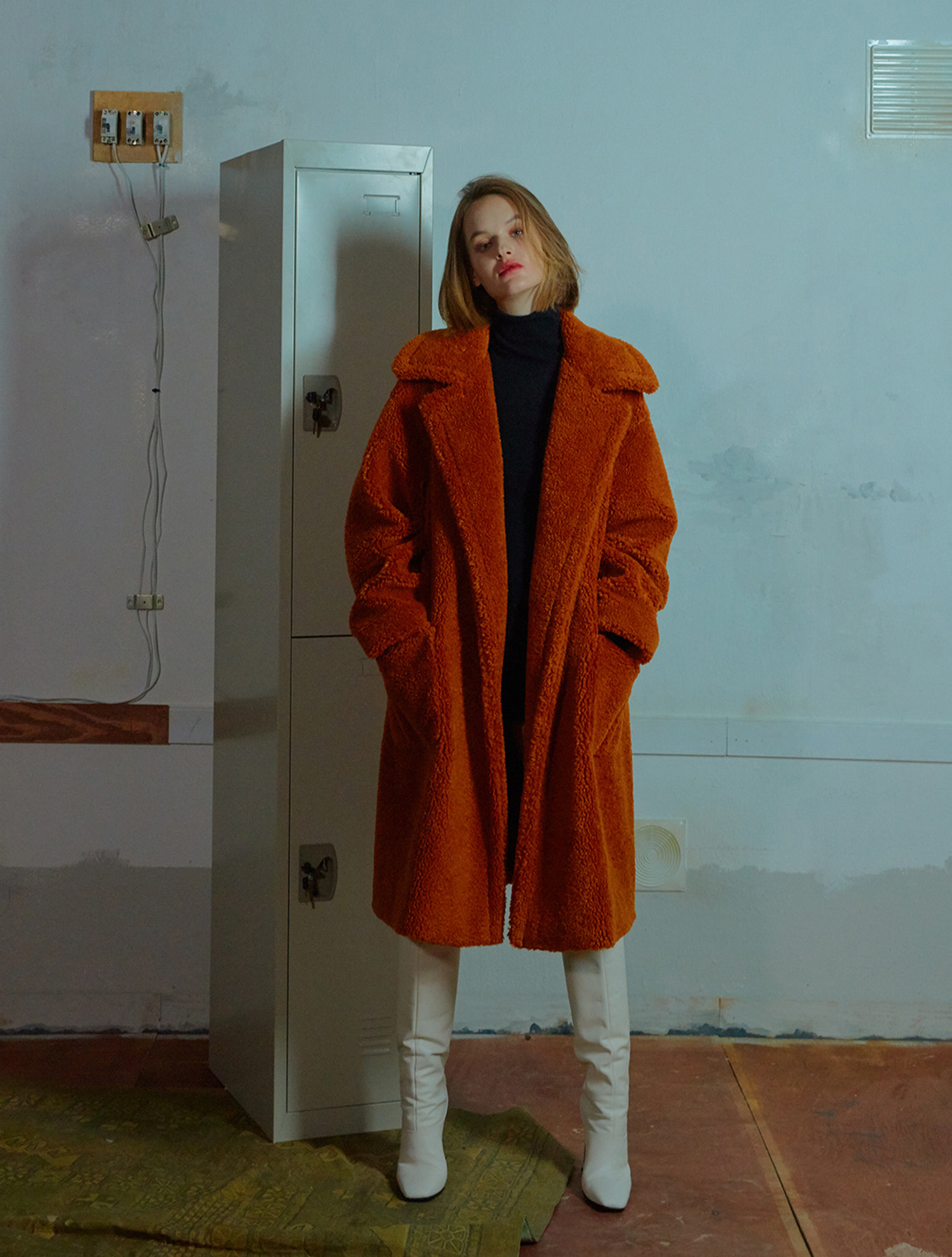 Outpocket teddy coat 002 Orange