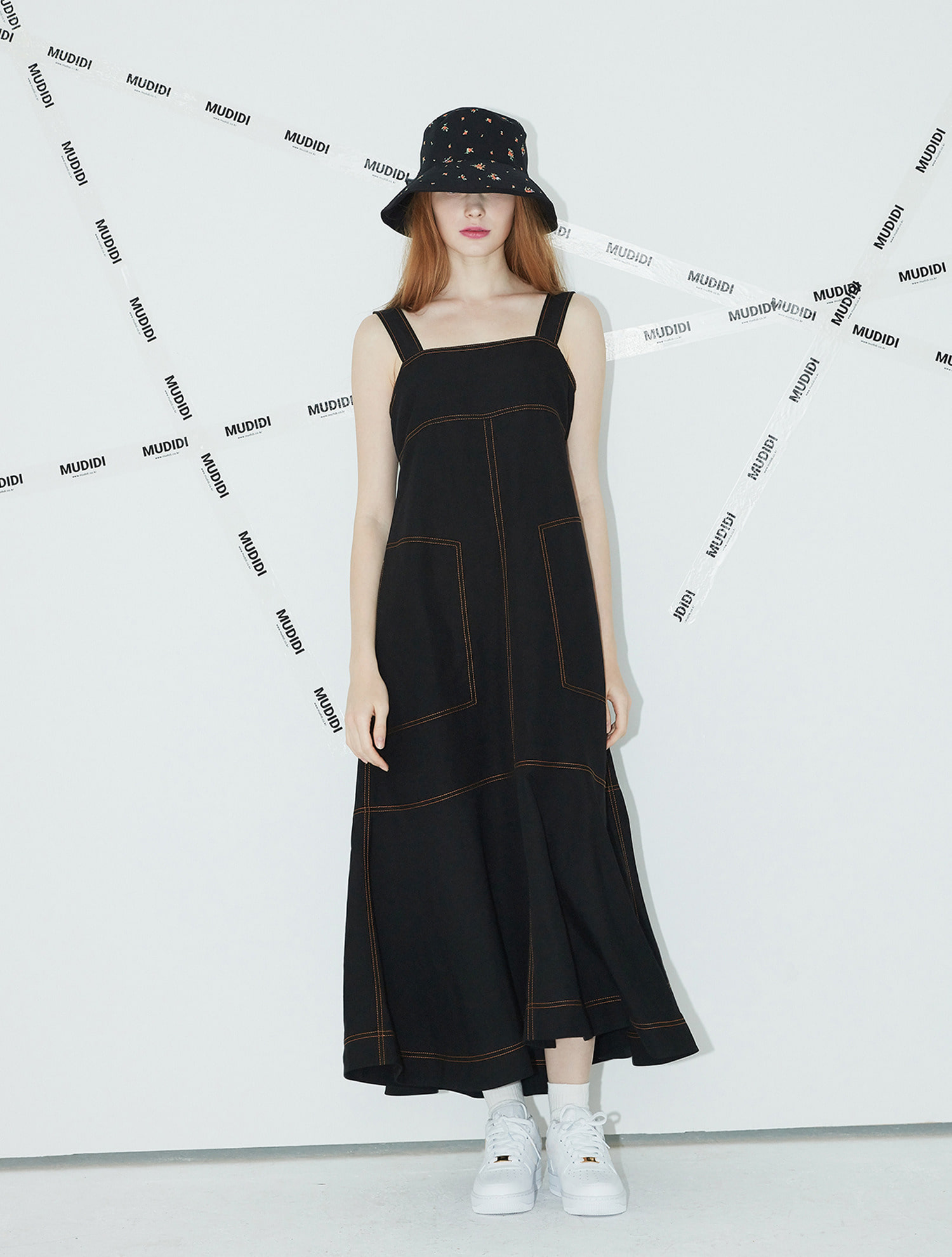 [오연서,차예련 착용] Long suspender dress 005 Black