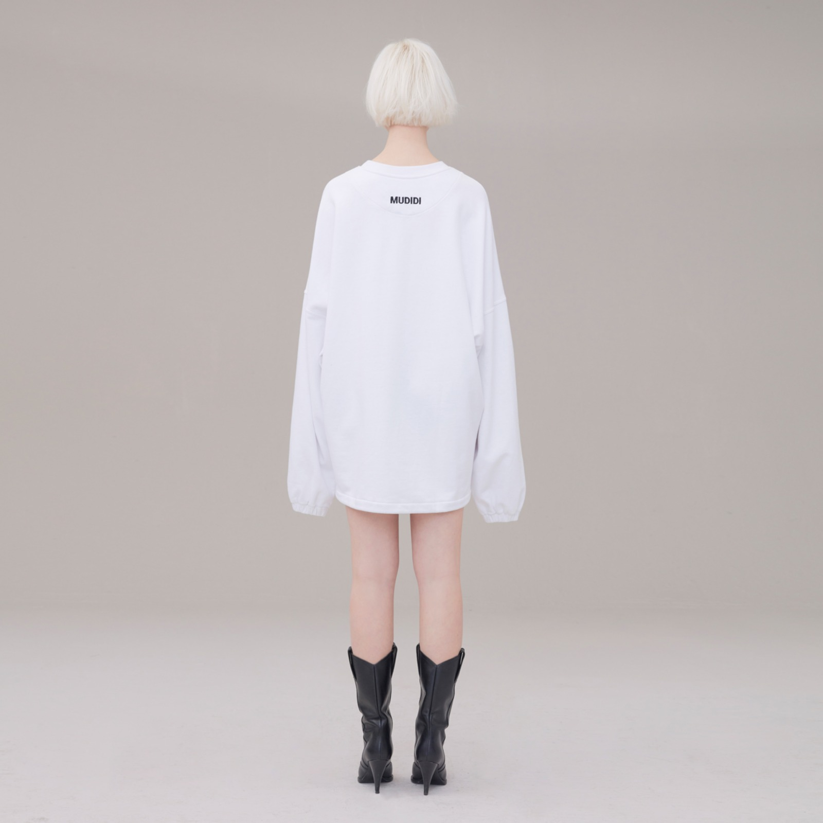 Over size sweat shirt 001 White