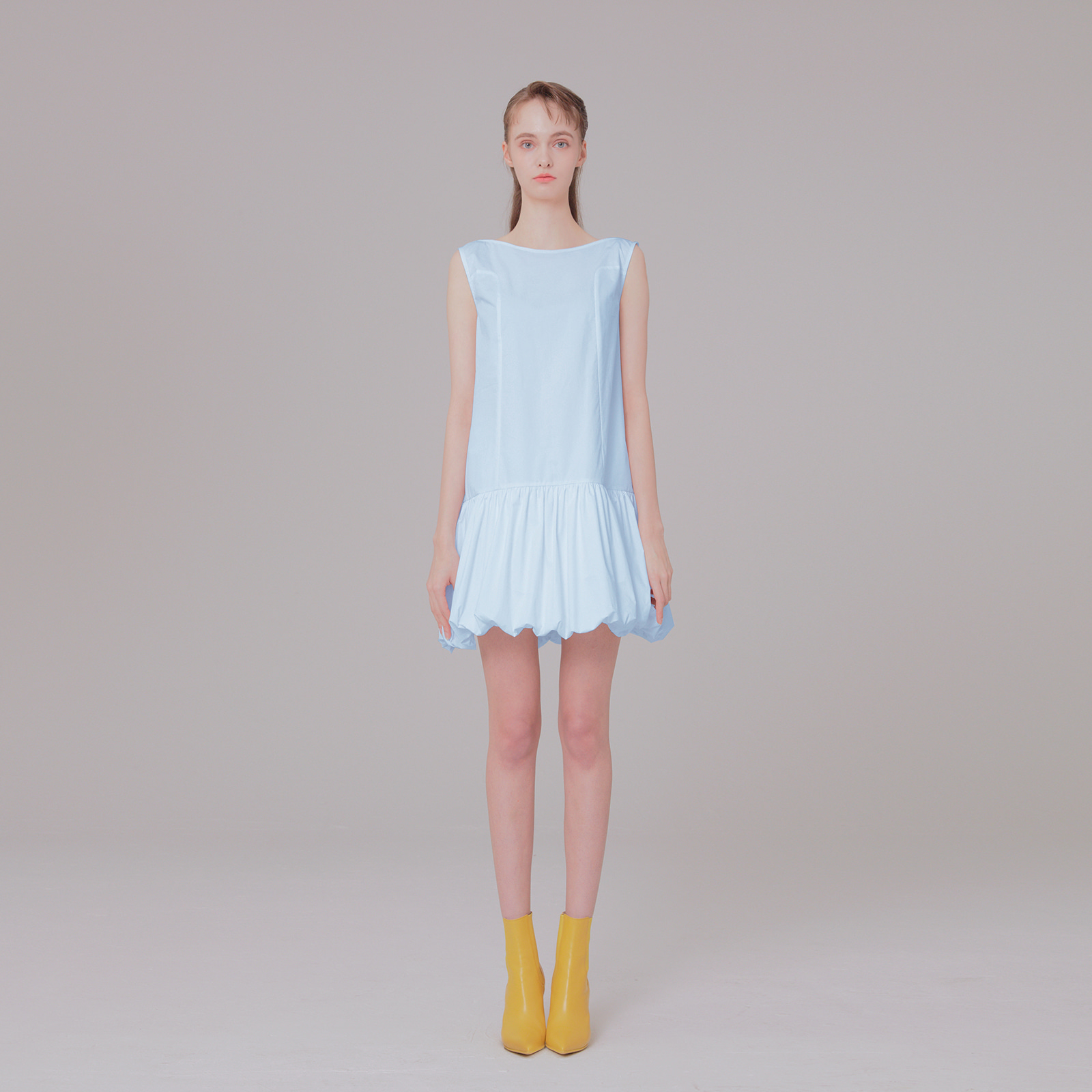 Ribbon detail dress 001 skyblue