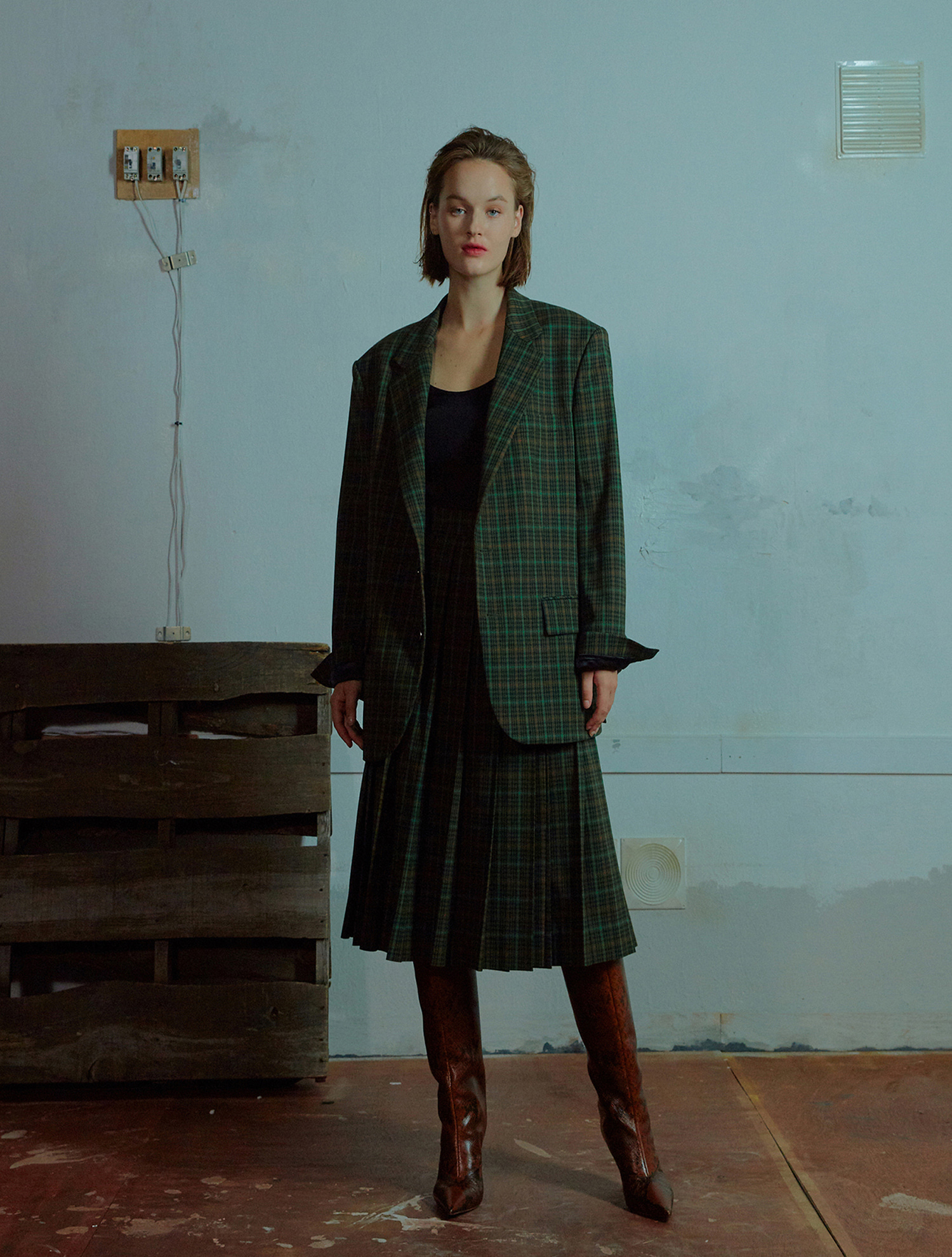 One button check jacket 006 Green