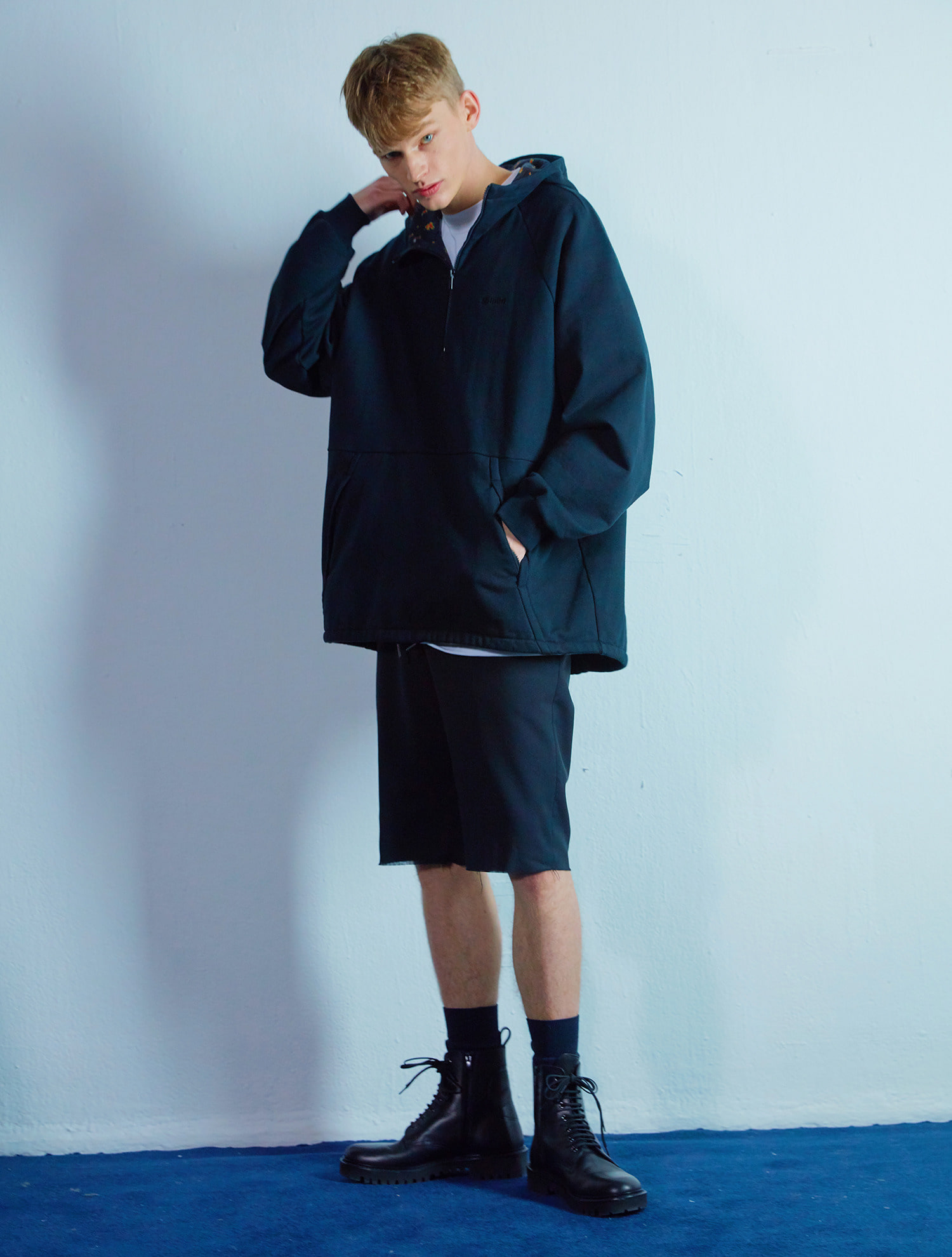 Flower anorak hoody 005 Black