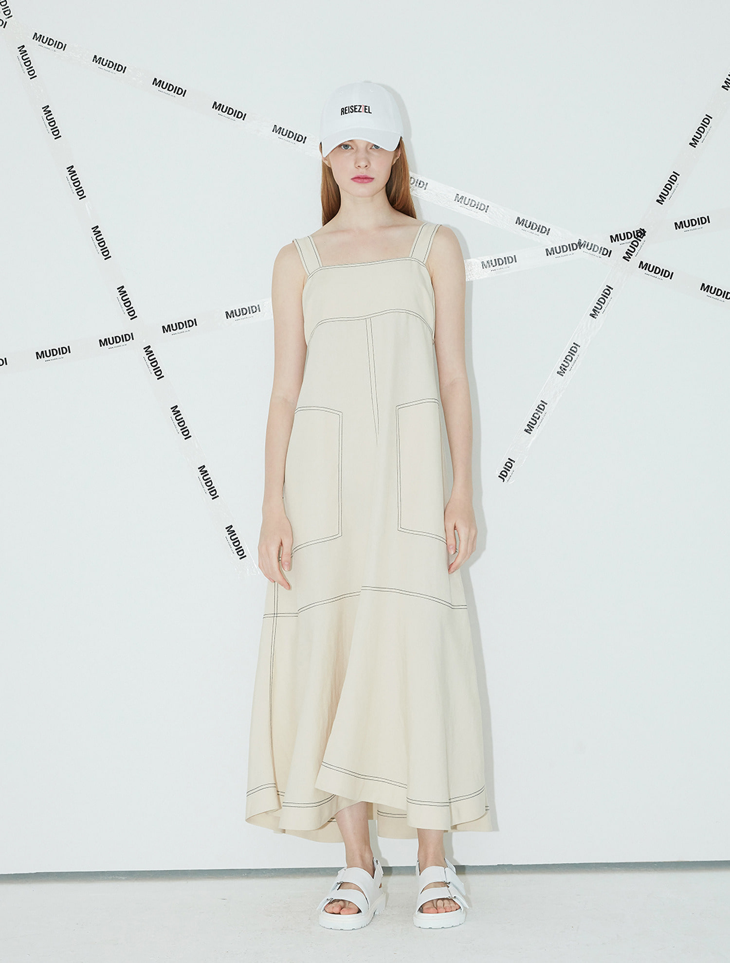 [황정음,하지원 착용] Long suspender dress 005 Ivory