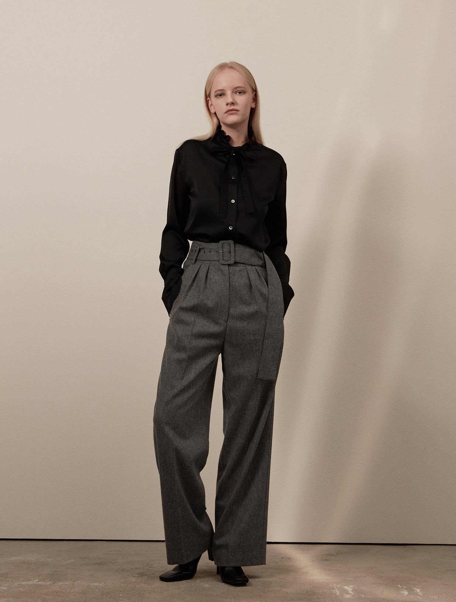 Highwest belted pants 002 Gray