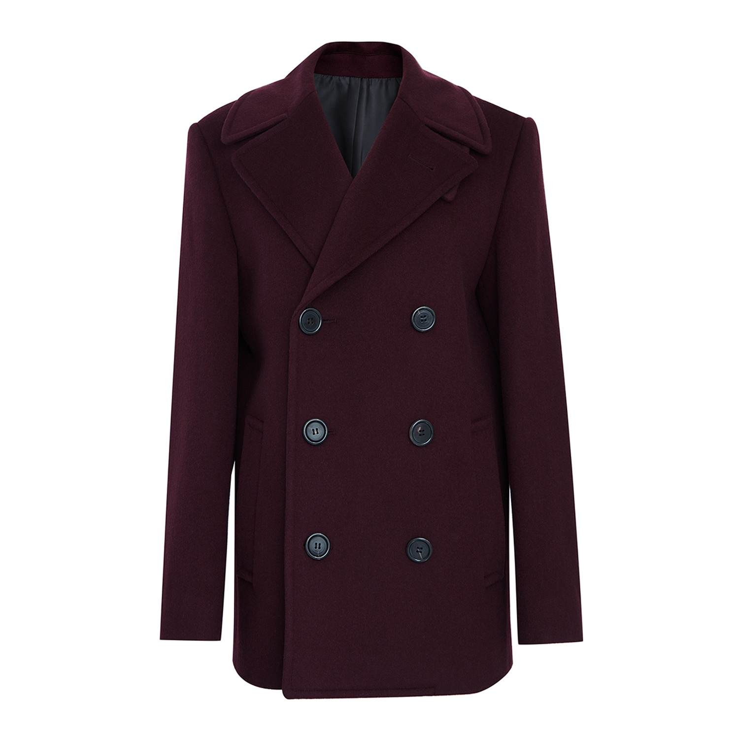 Double pea coat 002 Burgundy