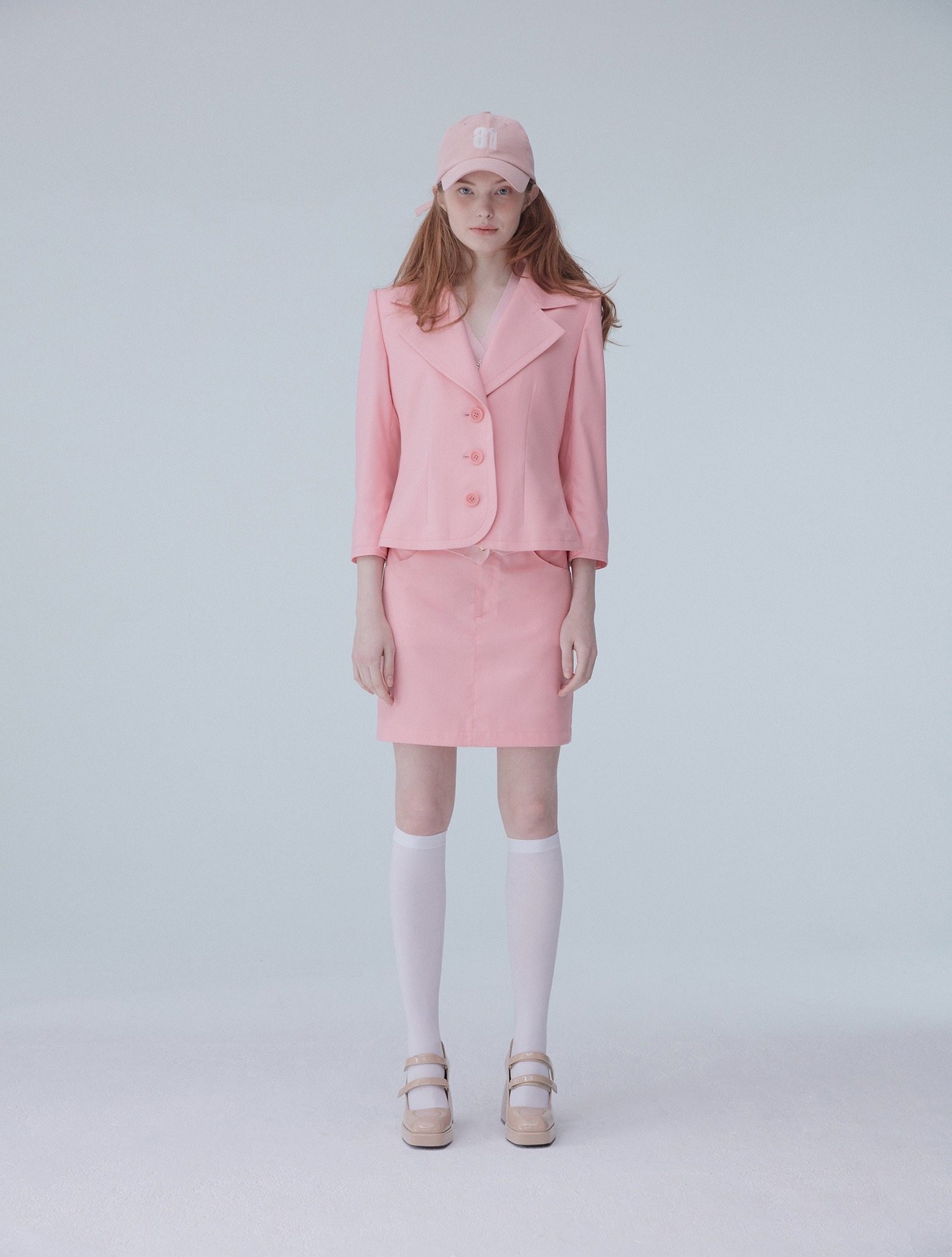 One button short jacket 002 Pink