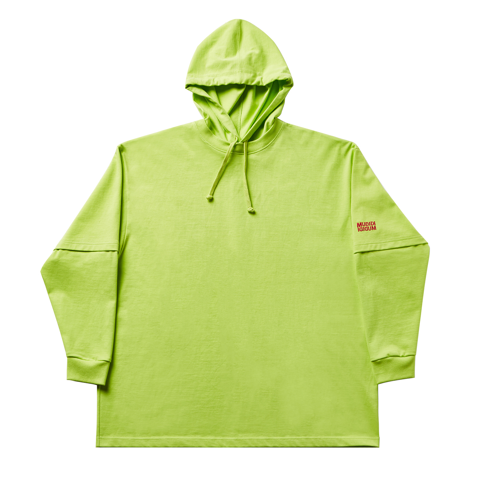 Layered hoody 001 yellowgreen(unisex)