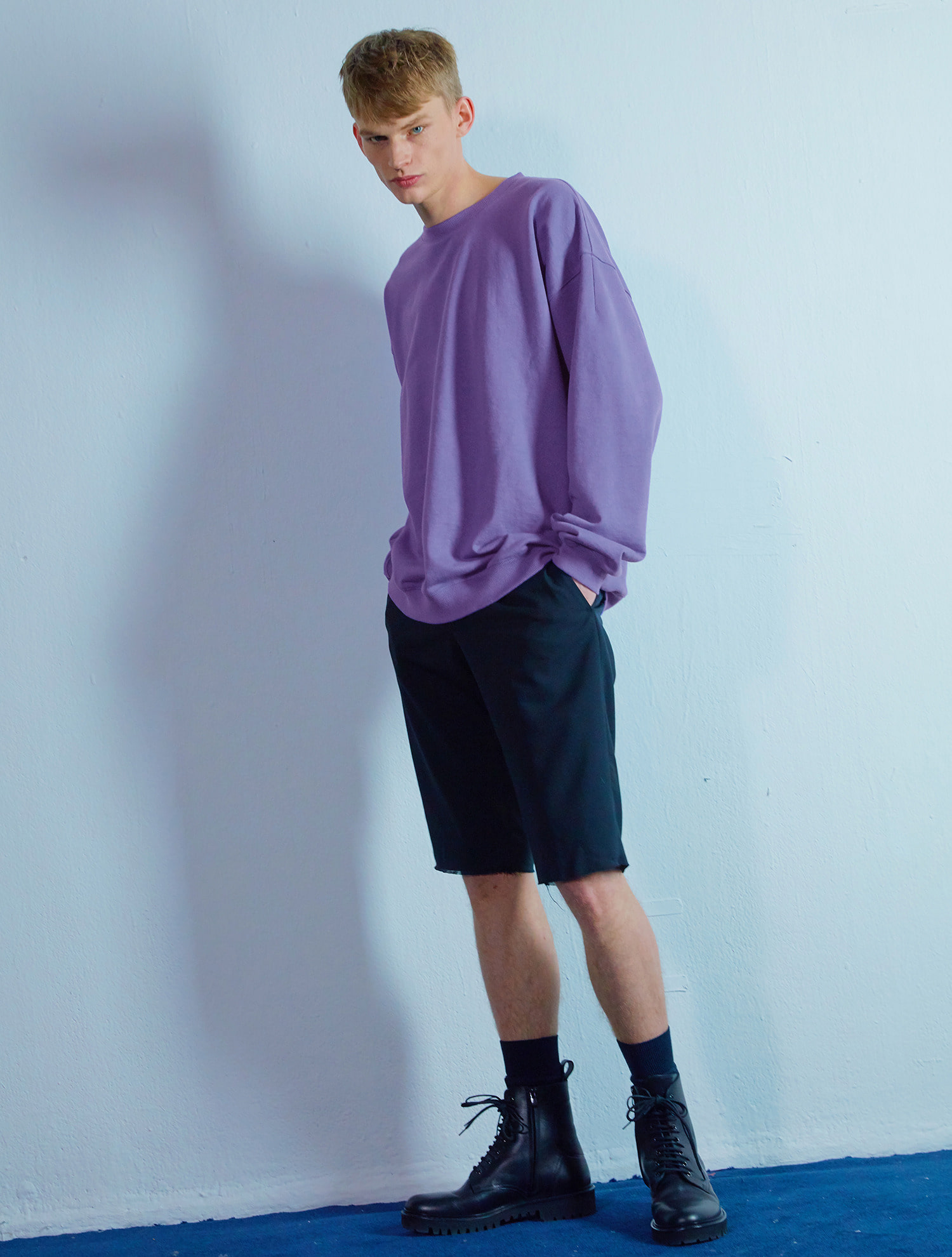 Overfit sweat shirt 002 Purple