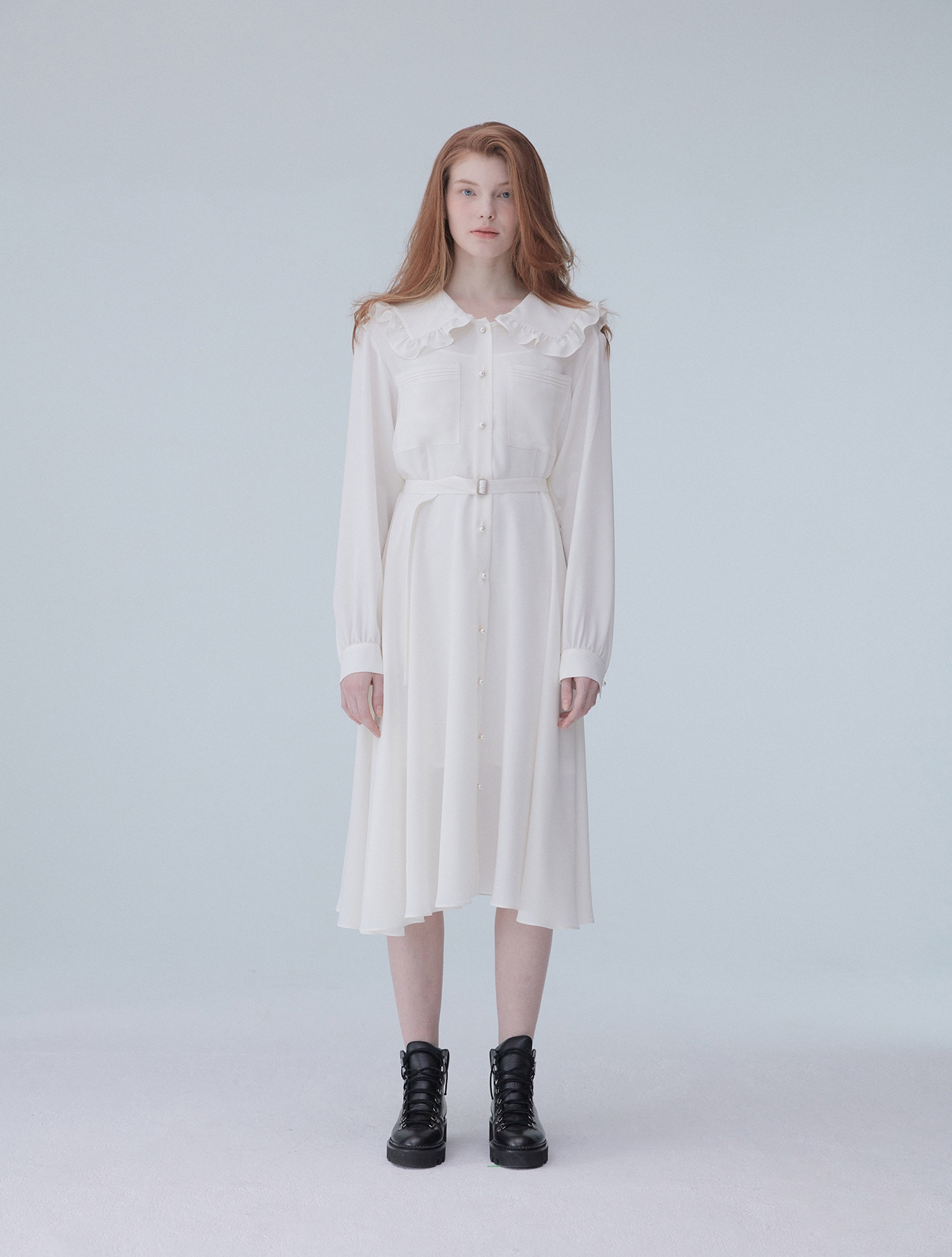 frill collar long dress 001 White
