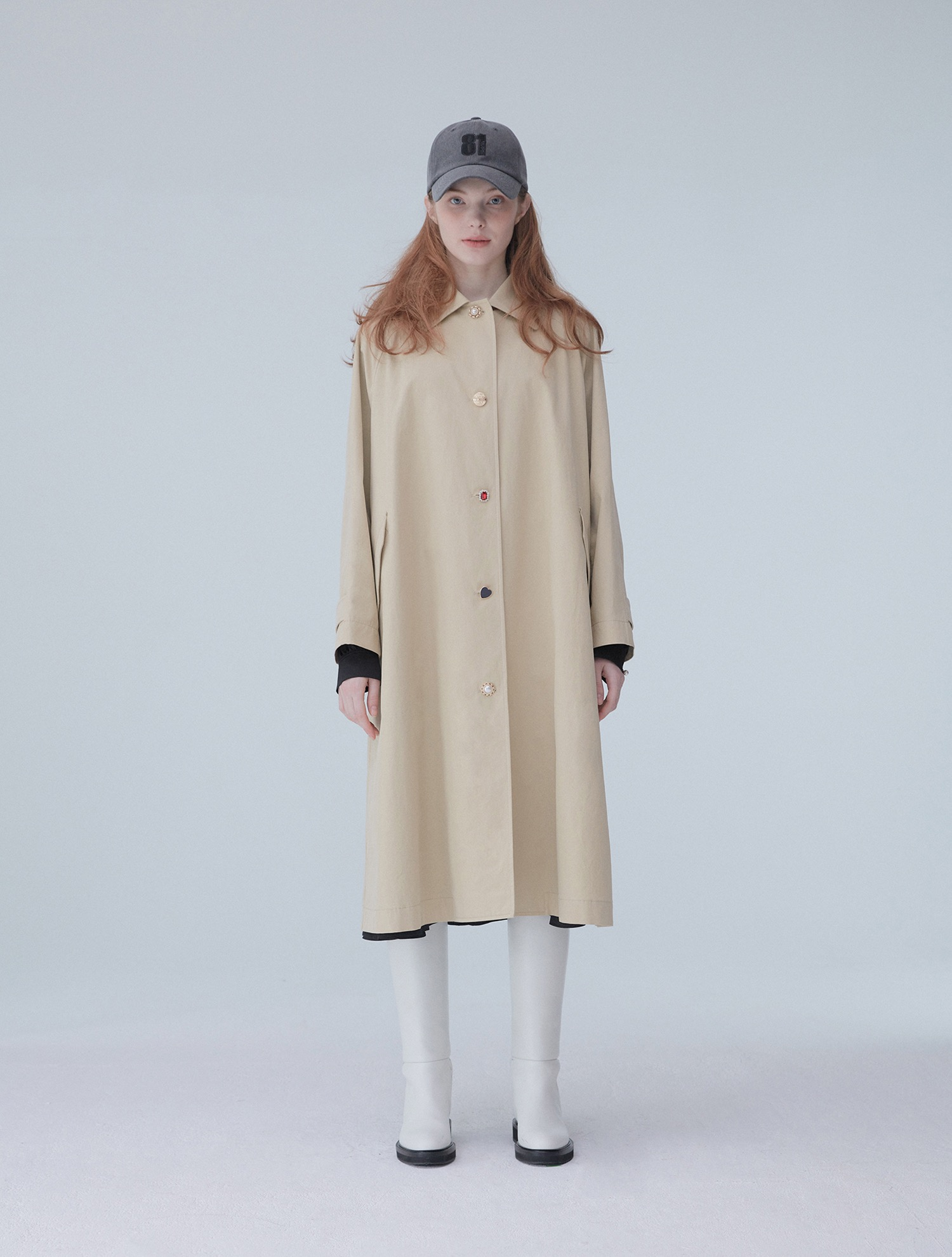 Custom button trench coat 001 Beige