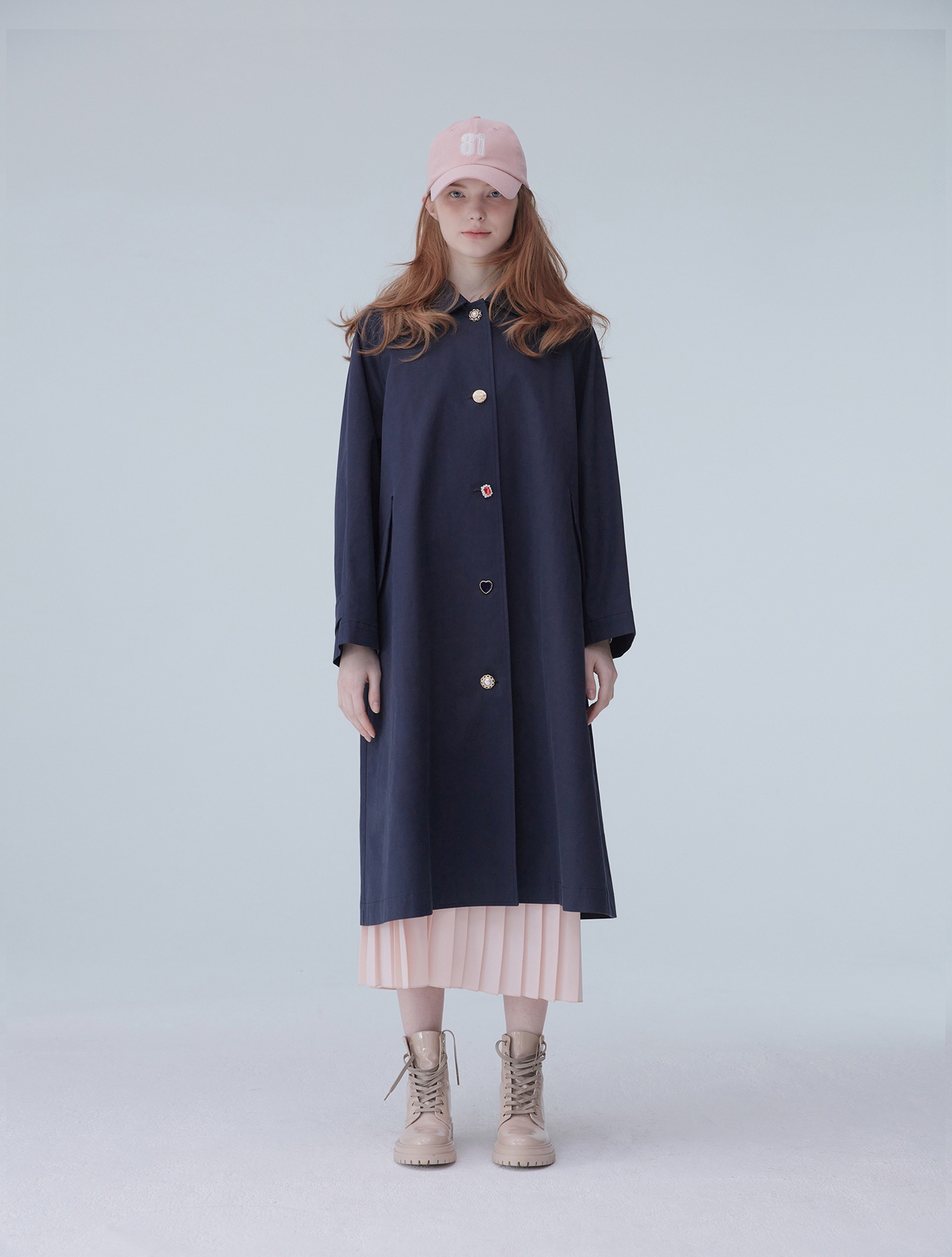 Custom button trench coat 001 Navy